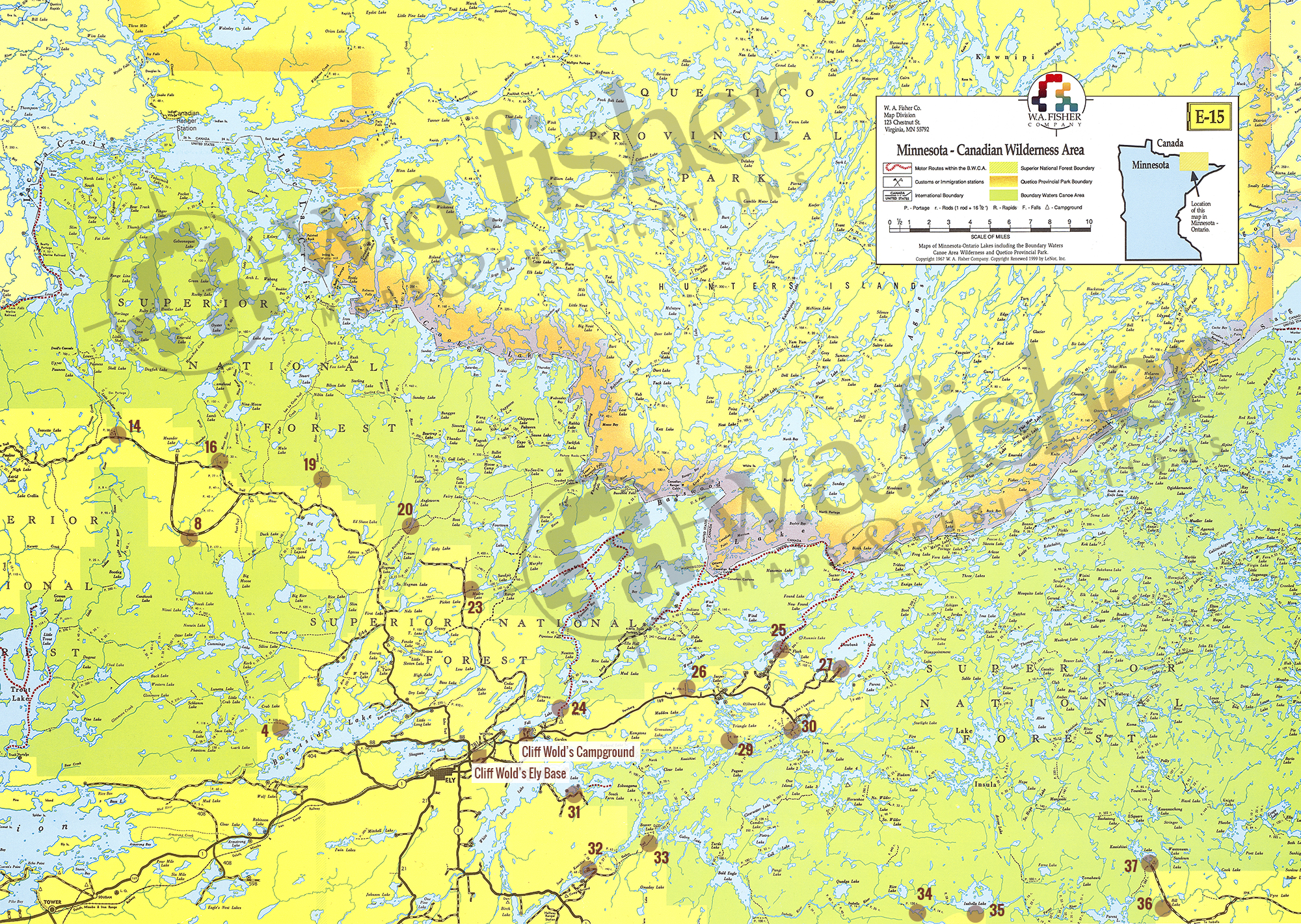 Boundary Waters Map Bwca Entry Points Ely Mn